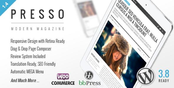 WordPress – Presso šablona moderního magazínu & A/B testování