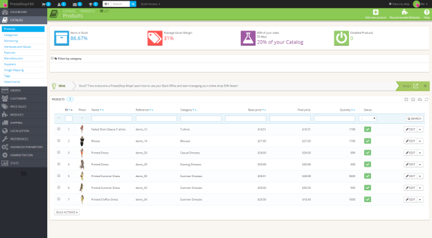 Administrace v PrestaShop 1.6 beta