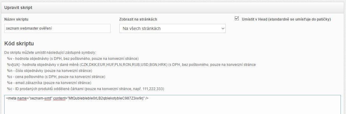 Seznam Webmaster ExitShop