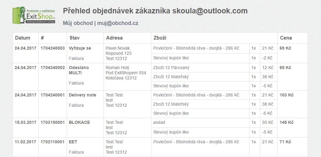 ExitShop přehled objednávek