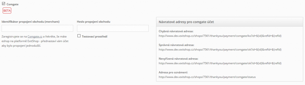 ExitShop - nastavení Comgate
